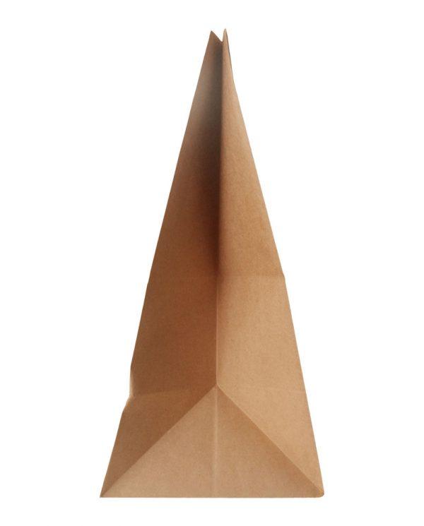 Χάρτινη τσάντα με λαβή χούφτα (Kαφέ kraft) 28+15/34,5 εκ. (κιβώτιο 750 τμχ)