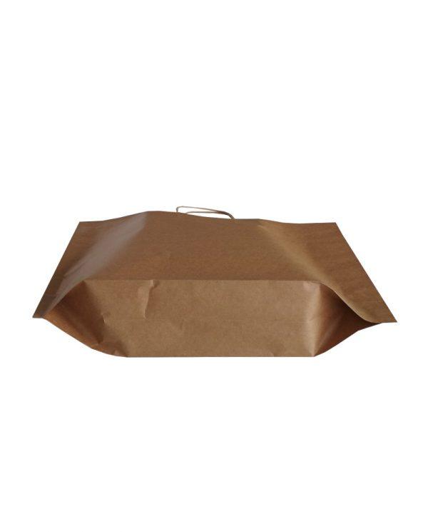 Χάρτινος σάκος στριφτής λαβής P bag (Καφέ kraft) 35+10/27 εκ. (κιβώτιο 300 τμχ)